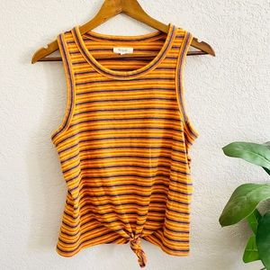 Madewell stripe Knot Front Tank Top size Large